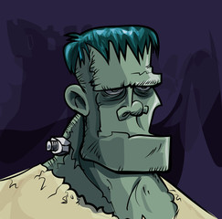 Cartoon Frankenstein monster head