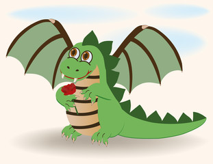 Cute baby dragon with rosa, vector illustration