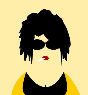 woman smoking and wearing sunglasses