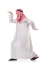 Dancing arab man isolated on white