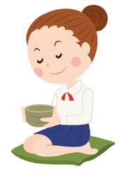 茶道 女性 イラスト