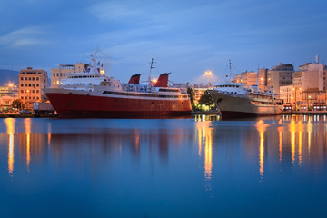 Ferries in port of Piraeus in Athens, Greece