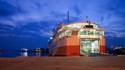 Ferry in port of Piraeus in Athens, Greece