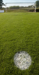 Football field with penalty point.
