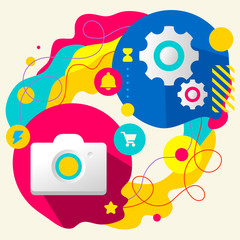Photo camera and gears on abstract colorful splashes background