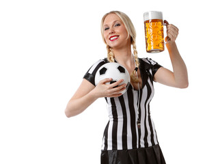woman in soccer referee clothes and beer and a ball