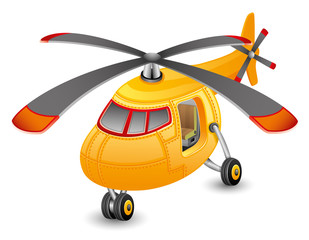 Orange helicopter.