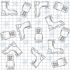 Seamless pattern with gumshoes. High sneakers