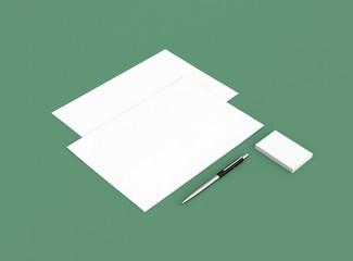 Papier Visitenkarte Brief mit Stift Hintergrund grün