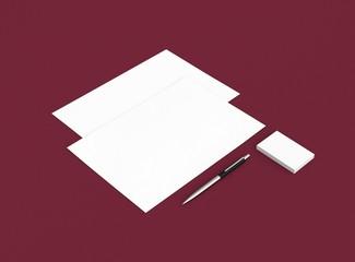 Papier Visitenkarte Brief mit Stift Hintergrund rot