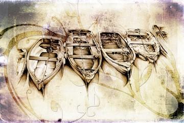 antique boat sea drawing handmade