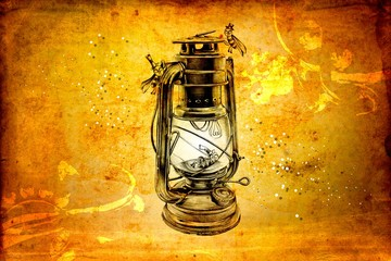 antique street lantern drawing handmade