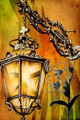 antique street lantern drawing handmade