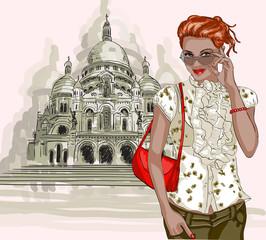 Pretty girl on Basilique Du Sacre Coeur background