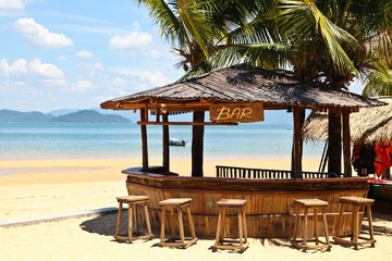 Beach bar with clear blue sky on Phayam island Thailand