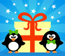 Holiday card with penguins vector