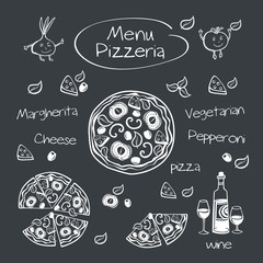Menu pizzeria. Drawing with chalk on a blackboard.