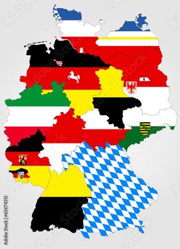 landkarte von deutschland mit bundesl ndern und landesfahnen stockfotos und lizenzfreie. Black Bedroom Furniture Sets. Home Design Ideas