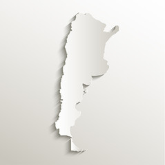 Argentina map card paper 3D natural