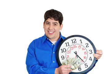 Time is money. Smiling man holding clock and dollar bills
