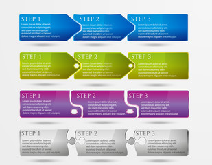 Vector horizontal steps. 4 styles and 4 colors.