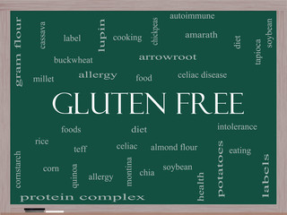 Gluten Free Word Cloud Concept on a Blackboard