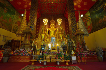 Buddha statue in temple buddhism at Wat Phra That Hariphunchai