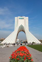 Red Tulips in Front of Azadi Monument in Tehran