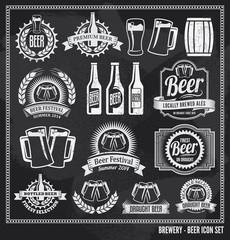 Beer Chalkboard Icon Set - labels, signs, vector design