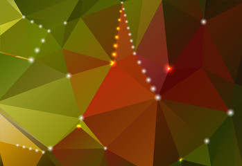 Abstract background with triangular shapes and shiny circles