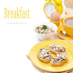 toast with tuna, fresh herbs and homemade cheese for breakfast