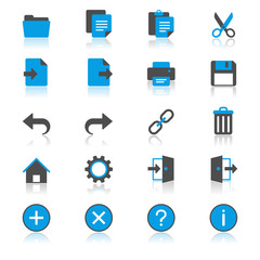 Application toolbar flat with reflection icons