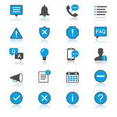 Information and notification flat with reflection icons