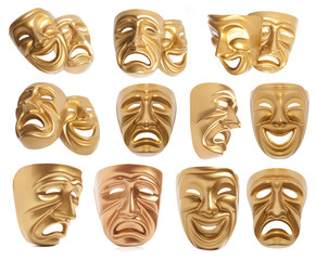 Set of theatrical mask isolated