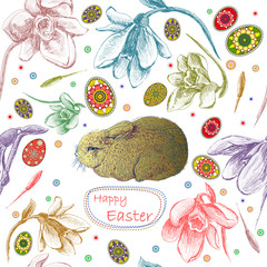 Seamless pattern with easter eggs and rabbit.