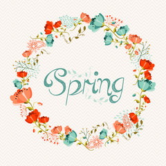 Spring wreath flower composition
