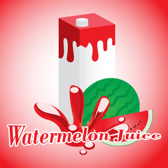 Watermelon Juice cartons with screw cap
