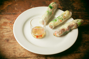 Summer rolls on plate