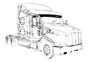 truck illustration color isolated art drawing