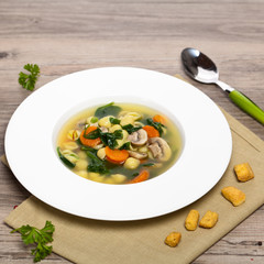 Healthy Spinach Soup with parsley and carrots