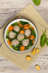 Spinach and Chicken meatball soup