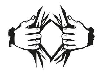 Hände öffnen Hemd