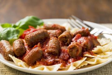 Sausage and bowtie pasta dinner