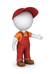 3d small person in a workwear.