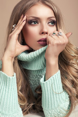 beautiful blond woman in warm sweater