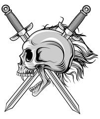 cross swords and skull in vector