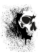 grunge abstract skull