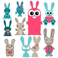 Set of various cute rabbits