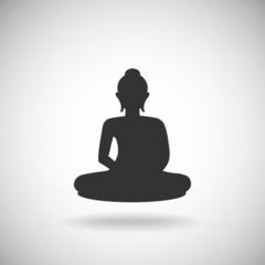 Buddha image on hand silhouette