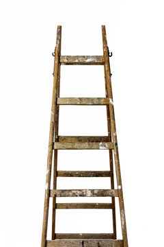 Frontview of a wood ladder